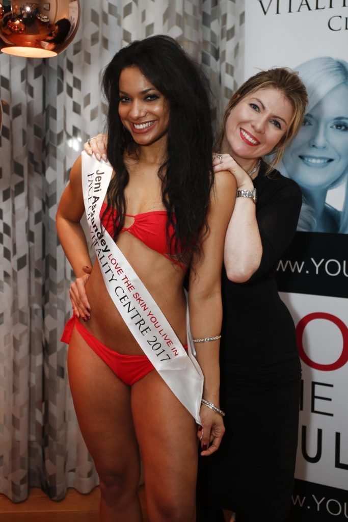 Pictured was Miss Bikini Ireland, Jeni Assandey and Vitality Centres owner Frances Flannery at the launch of Vitality Centres new website www.younger.ie which focuses on a wide range of non surgical skin treatments. Picture Conor McCabe Photography.