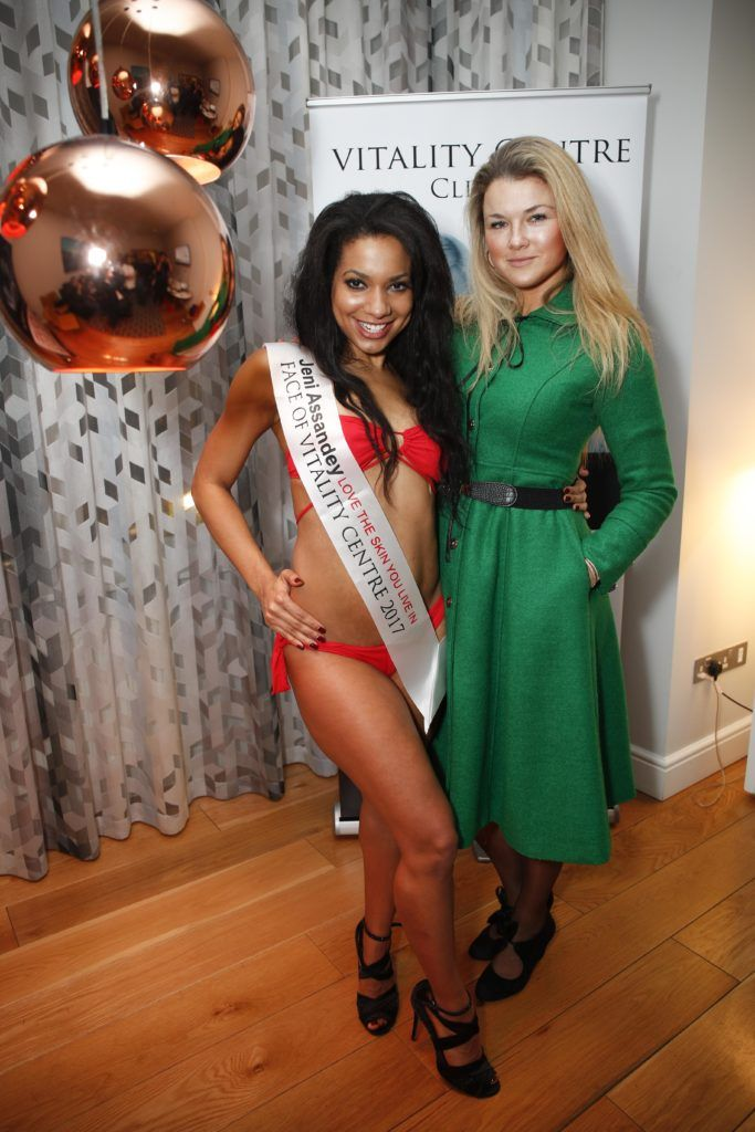 Pictured was Miss Bikini Ireland, Jeni Assandey with Kotryna Varnaite at the launch of Vitality Centres new website www.younger.ie which focuses on a wide range of non surgical skin treatments. Picture Conor McCabe Photography.