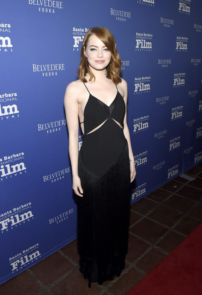 Actress Emma Stone attends the Outstanding Performers Tribute honoring  Ryan Gosling and Emma Stone during the 32nd Santa Barbara International Film Festival at the Arlington Theater  on February 3, 2017 in Santa Barbara, California.  (Photo by Matt Winkelmeyer/Getty Images for SBIFF)
