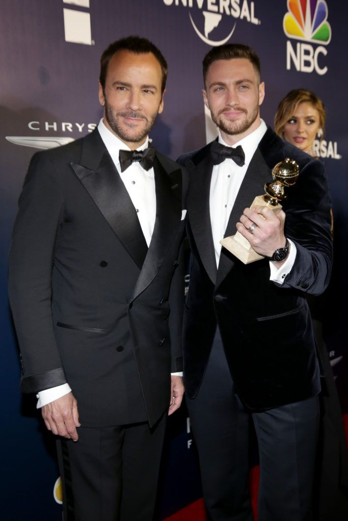Director Tom Ford and Actor Aaron Taylor-Johnson attend NBCUniversal's 74th Annual Golden Globes After Party at The Beverly Hilton Hotel on January 8, 2017 in Beverly Hills, California.  (Photo by Loreen Sarkis/Getty Images)