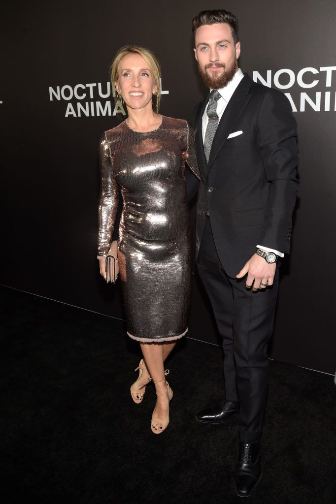 """Sam Taylor-Johnson and Aaron Taylor-Johnson attend the New York Premiere of Tom Ford's """"Nocturnal Animals"""" at The Paris Theatre on November 17, 2016 in New York City.  (Photo by Jason Kempin/Getty Images for Focus Features)"""
