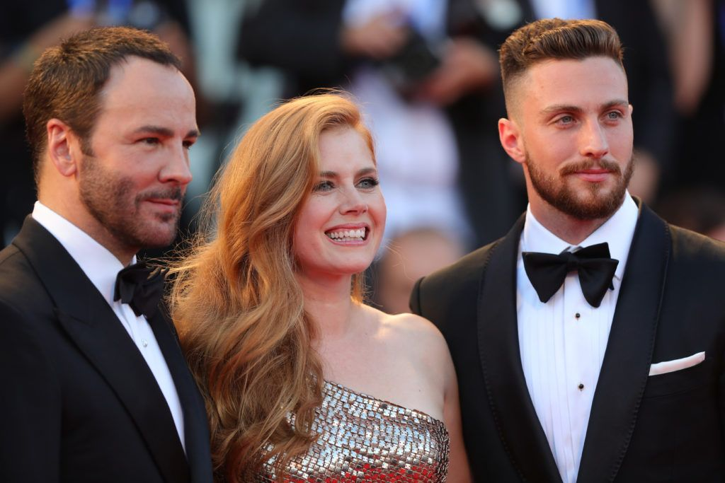 Tom Ford, Amy Adams and Aaron Taylor-Johnson attend the premiere of 'Nocturnal Animals' during the 73rd Venice Film Festival at Sala Grande on September 2, 2016 in Venice, Italy.  (Photo by Vittorio Zunino Celotto/Getty Images)