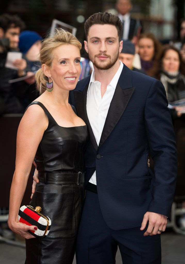 "Sam Taylor Wood and Aaron Taylor Johnson attends the European premiere of ""Godzilla"" at the Odeon Leicester Square on May 11, 2014 in London, England.  (Photo by Ian Gavan/Getty Images)"