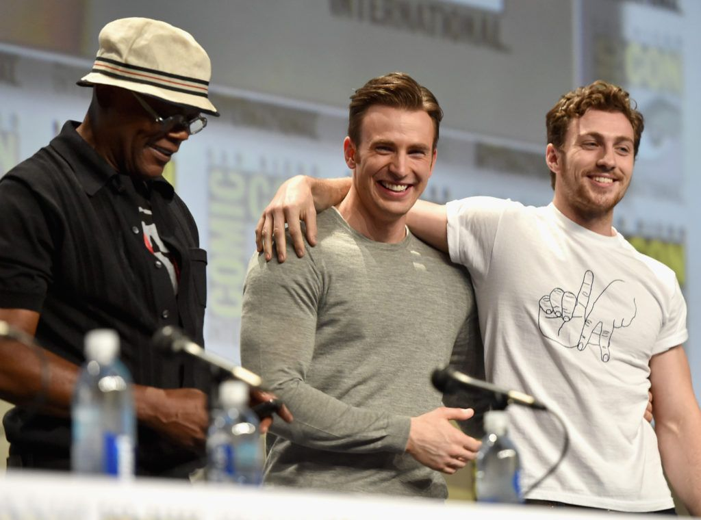 "Actors Samuel L. Jackson, Chris Evans and Aaron Taylor-Johnson onstage at Marvel's Hall H Panel for ""Avengers: Age Of Ultron"" during Comic-Con International 2014 at San Diego Convention Center at  on July 26, 2014 in San Diego, California.  (Photo by Alberto E. Rodriguez/Getty Images for Disney)"