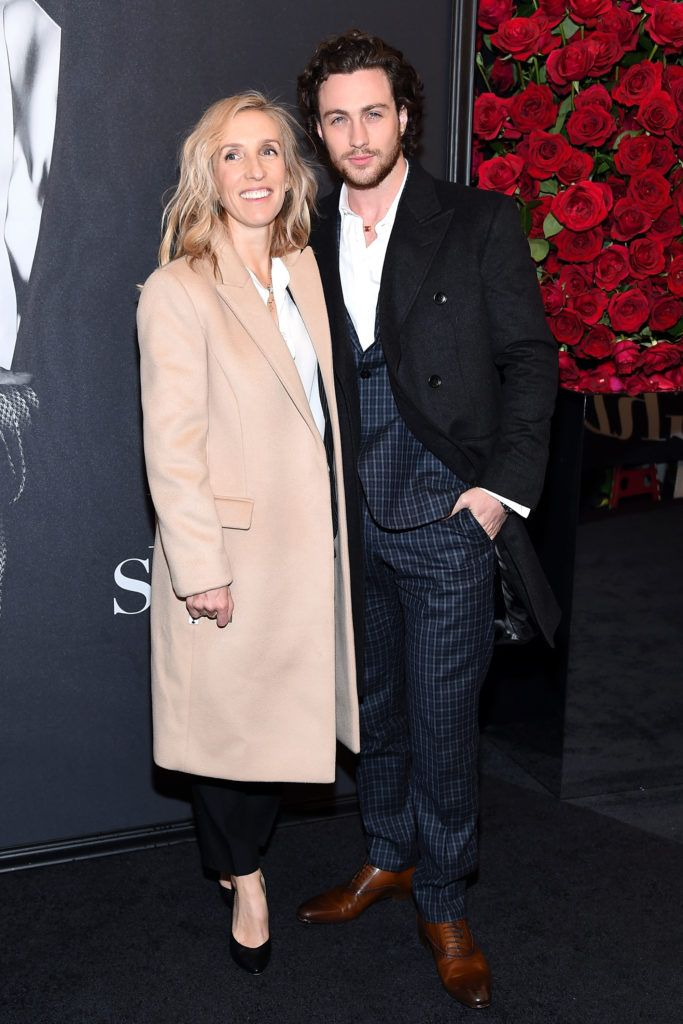"Director Sam Taylor-Johnson (L) and actor Aaron Taylor-Johnson attend the ""Fifty Shades Of Grey"" New York Fan First screening at Ziegfeld Theatre on February 6, 2015 in New York City.  (Photo by Mike Coppola/Getty Images)"