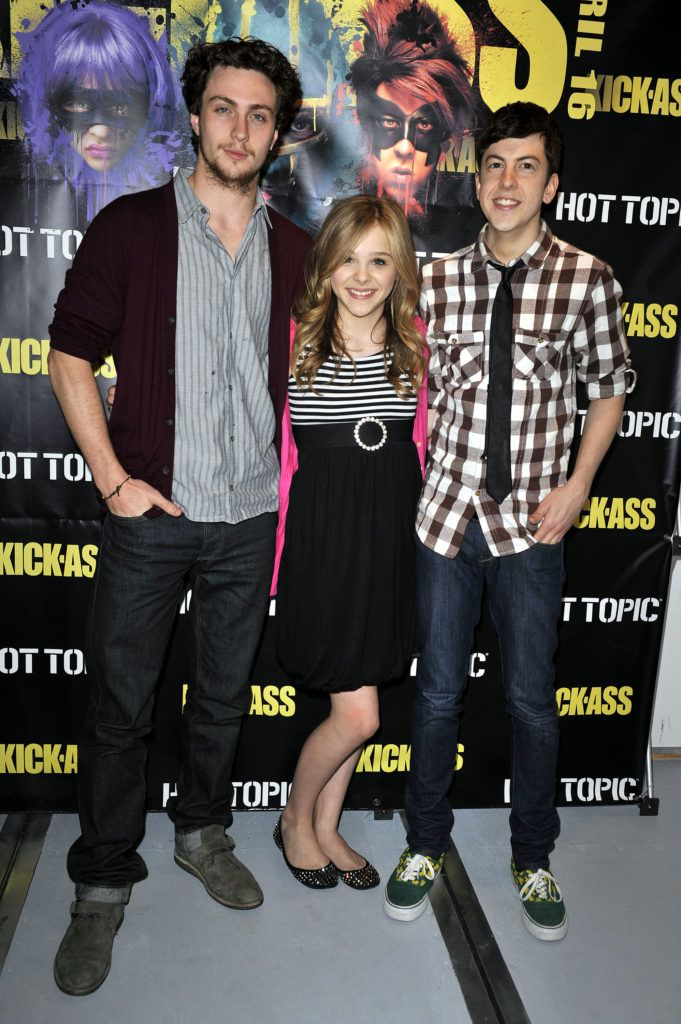 Christopher Mintz-Plasse, Chloe Moretz and Aaron Johnson pose for a picture at the 'Kick Ass' cast meet and greet fan event held at Hot Topic on April 12, 2010 in Hollywood, California. (Photo by Toby Canham/Getty Images)