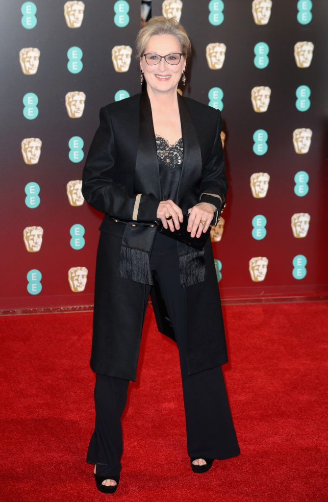 LONDON, ENGLAND - FEBRUARY 12: Actress Meryl Streep attends the 70th EE British Academy Film Awards (BAFTA) at Royal Albert Hall on February 12, 2017 in London, England.  (Photo by Chris Jackson/Getty Images)