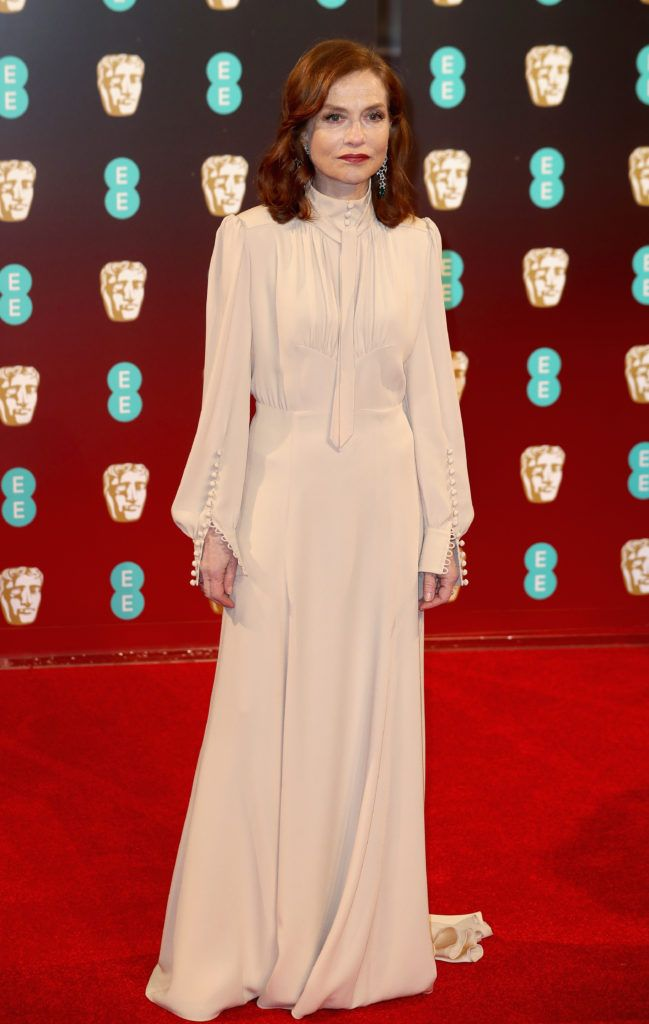 LONDON, ENGLAND - FEBRUARY 12: Actress Isabelle Huppert attends the 70th EE British Academy Film Awards (BAFTA) at Royal Albert Hall on February 12, 2017 in London, England.  (Photo by Chris Jackson/Getty Images)