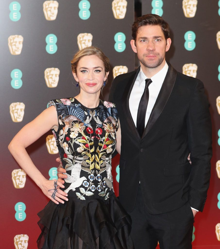 LONDON, ENGLAND - FEBRUARY 12:  (L-R) Actors Emily Blunt and John Krasinski attend the 70th EE British Academy Film Awards (BAFTA) at Royal Albert Hall on February 12, 2017 in London, England.  (Photo by Chris Jackson/Getty Images)
