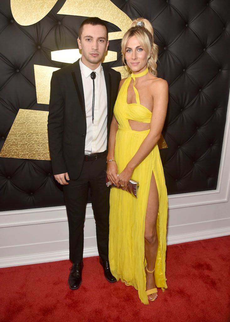 LOS ANGELES, CA - FEBRUARY 12:  Tyler Joseph of Twenty One Pilots (L) and Jenna Black attend The 59th GRAMMY Awards at STAPLES Center on February 12, 2017 in Los Angeles, California.  (Photo by Alberto E. Rodriguez/Getty Images for NARAS)