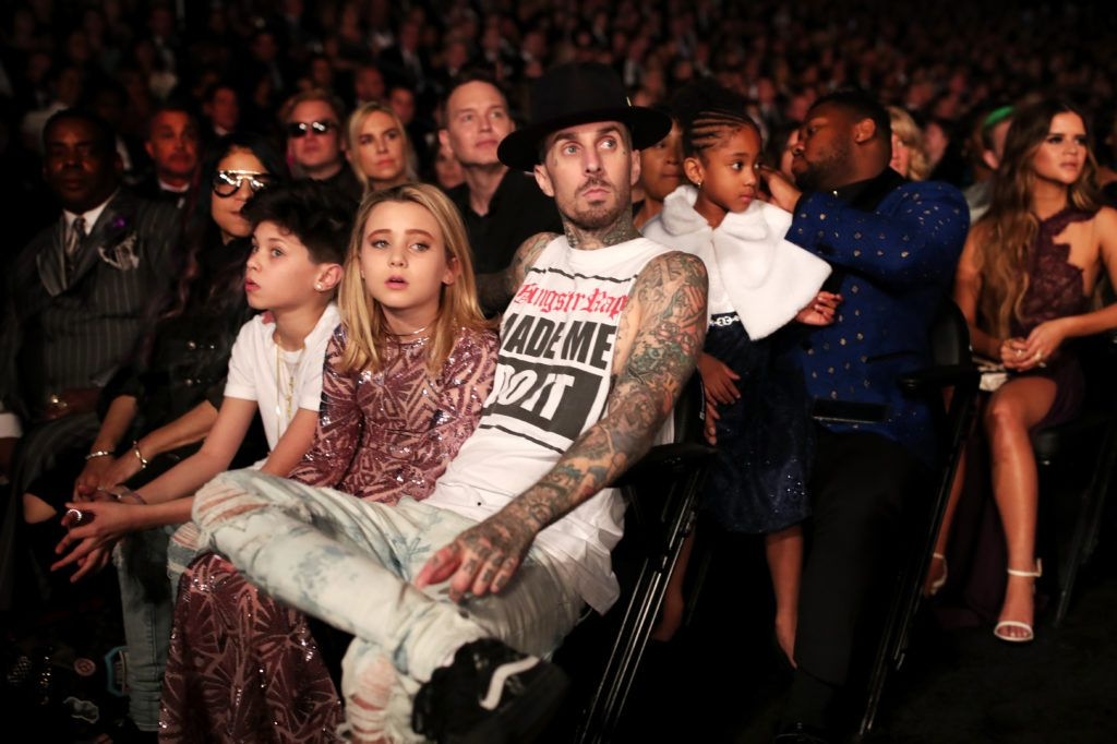 LOS ANGELES, CA - FEBRUARY 12: (L-R) Landon Barker, Alabama Barker and musician Travis Barker of Blink-182 during The 59th GRAMMY Awards at STAPLES Center on February 12, 2017 in Los Angeles, California.  (Photo by Christopher Polk/Getty Images for NARAS)