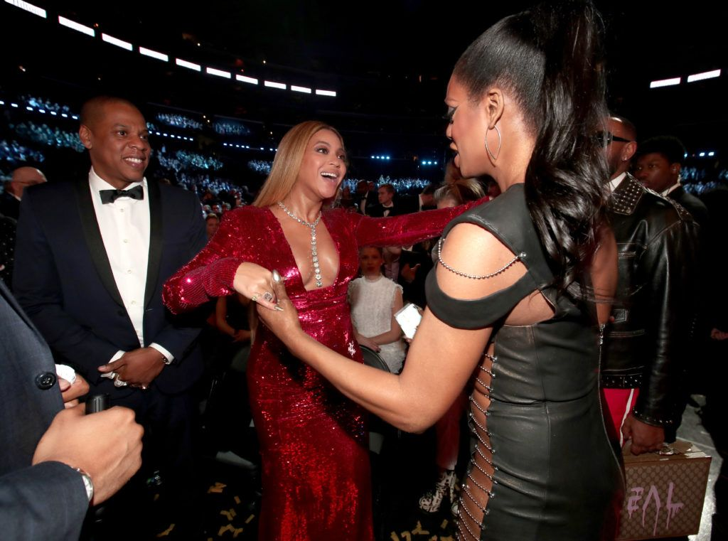 LOS ANGELES, CA - FEBRUARY 12: Jay-Z, Beyonce and actress Laverne Cox during The 59th GRAMMY Awards at STAPLES Center on February 12, 2017 in Los Angeles, California.  (Photo by Christopher Polk/Getty Images for NARAS)