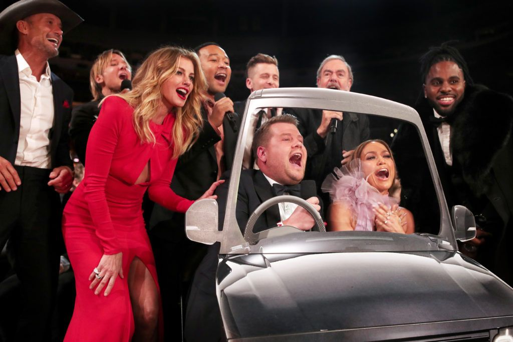 LOS ANGELES, CA - FEBRUARY 12:  (L-R) Faith Hill, Tim McGraw, John Legend, GRAMMY Awards host James Corden, Ryan Tedder of OneRepublic, Jennifer Lopez, Neil Diamond and Jason Derulo  during The 59th GRAMMY Awards at STAPLES Center on February 12, 2017 in Los Angeles, California.  (Photo by Christopher Polk/Getty Images for NARAS)