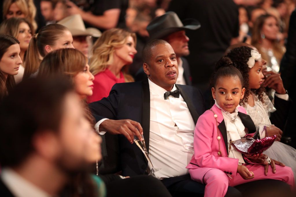LOS ANGELES, CA - FEBRUARY 12:  Hip-hop artist Jay Z and Blue Ivy Carter (R) during The 59th GRAMMY Awards at STAPLES Center on February 12, 2017 in Los Angeles, California.  (Photo by Christopher Polk/Getty Images for NARAS)