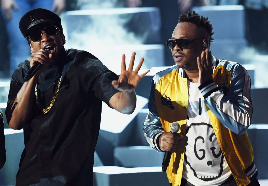 LOS ANGELES, CA - FEBRUARY 12:  Hip Hop artist Q-Tip, and Jarobi White, of a Tribe Called Quest  perform onstage during The 59th GRAMMY Awards at STAPLES Center on February 12, 2017 in Los Angeles, California.  (Photo by Kevin Winter/Getty Images for NARAS)