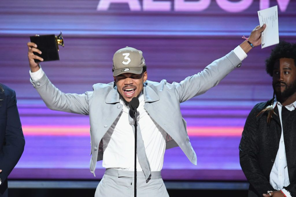 LOS ANGELES, CA - FEBRUARY 12:  Recording artist Chance the Rapper accepts the Best Rap Album award for 'Coloring Book' onstage during The 59th GRAMMY Awards at STAPLES Center on February 12, 2017 in Los Angeles, California.  (Photo by Kevin Winter/Getty Images for NARAS)