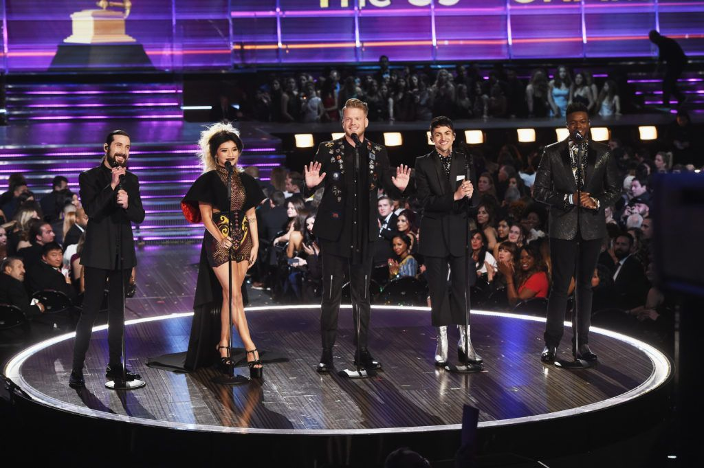LOS ANGELES, CA - FEBRUARY 12:  (L-R) Recording artists Avi Kaplan, Kirstin Maldonado, Scott Hoying, Mitch Grassi, and Kevin Olusola of music group Pentatonix perform onstage during The 59th GRAMMY Awards at STAPLES Center on February 12, 2017 in Los Angeles, California.  (Photo by Kevin Winter/Getty Images for NARAS)