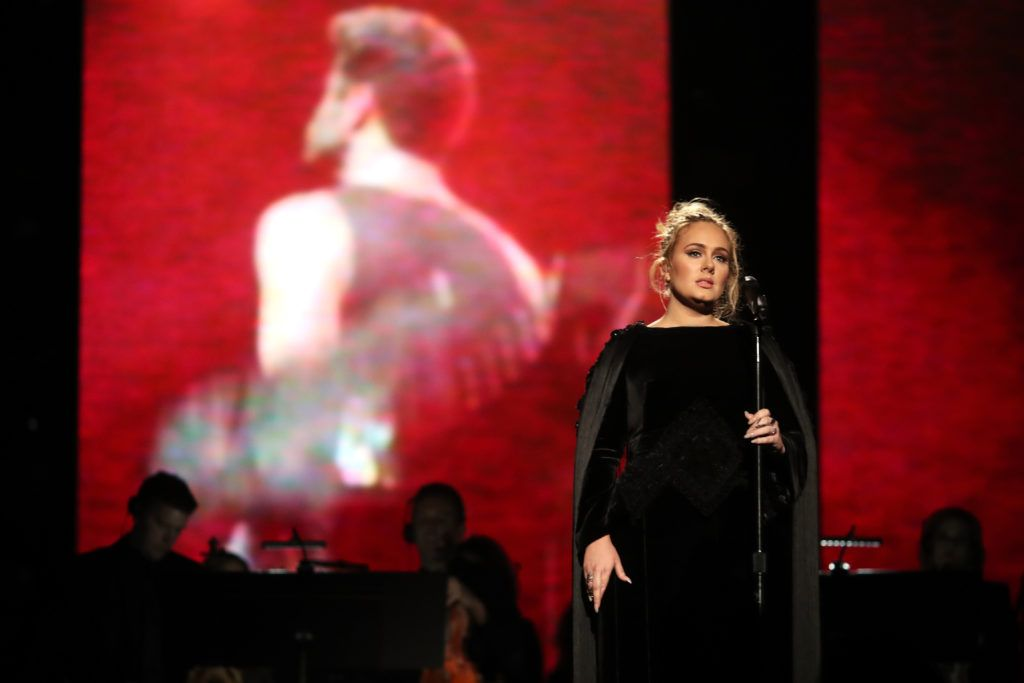 LOS ANGELES, CA - FEBRUARY 12:  Singer Adele during The 59th GRAMMY Awards at STAPLES Center on February 12, 2017 in Los Angeles, California.  (Photo by Christopher Polk/Getty Images for NARAS)