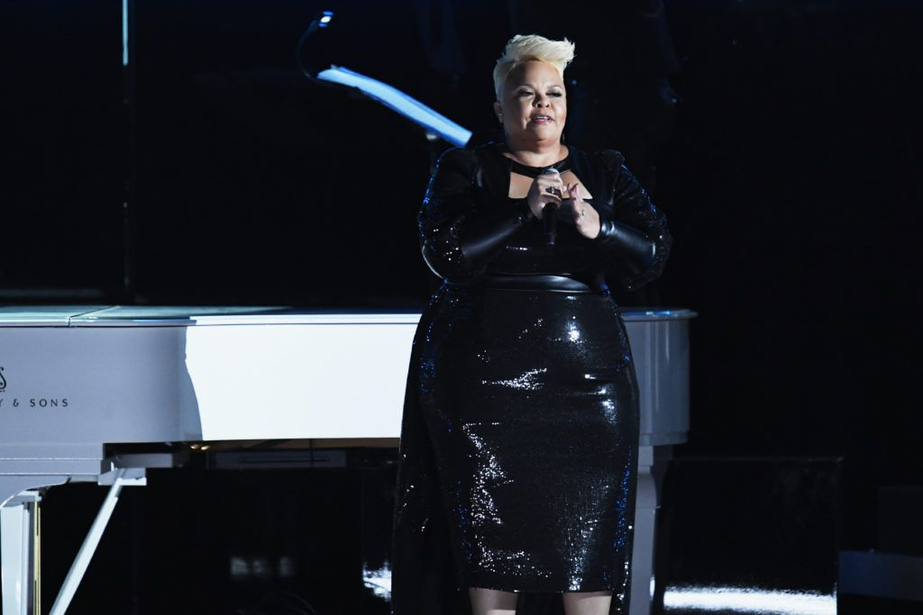 LOS ANGELES, CA - FEBRUARY 12:  Recording artist Tamela Mann performs onstage during The 59th GRAMMY Awards at STAPLES Center on February 12, 2017 in Los Angeles, California.  (Photo by Kevin Winter/Getty Images for NARAS)