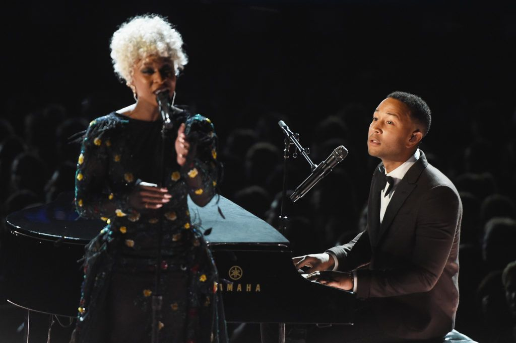LOS ANGELES, CA - FEBRUARY 12:  Recording artists Cynthia Erivo (L) and John Legend perform onstage during The 59th GRAMMY Awards at STAPLES Center on February 12, 2017 in Los Angeles, California.  (Photo by Kevin Winter/Getty Images for NARAS)