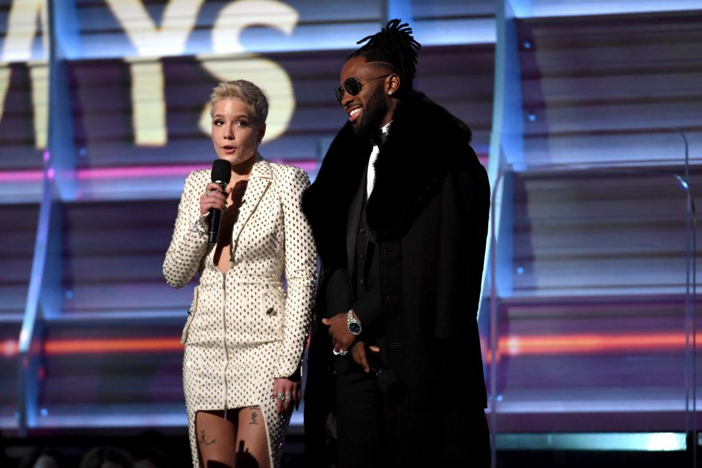 LOS ANGELES, CA - FEBRUARY 12:  Recording artists Halsey (L) and Jason Derulo speak onstage during The 59th GRAMMY Awards at STAPLES Center on February 12, 2017 in Los Angeles, California.  (Photo by Kevork Djansezian/Getty Images)