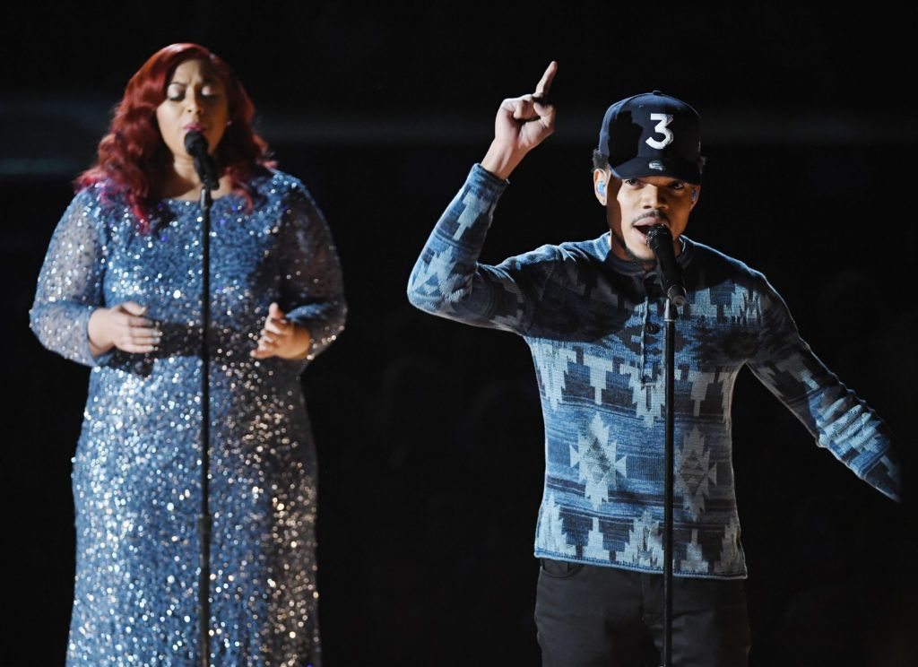 LOS ANGELES, CA - FEBRUARY 12:  Recording artists Nicole Steen (L) and Chance the Rapper perform onstage during The 59th GRAMMY Awards at STAPLES Center on February 12, 2017 in Los Angeles, California.  (Photo by Kevin Winter/Getty Images for NARAS)