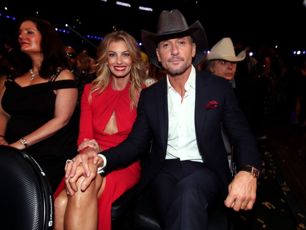 LOS ANGELES, CA - FEBRUARY 12:  Recording artists Faith Hill (L) and Tim McGraw during The 59th GRAMMY Awards at STAPLES Center on February 12, 2017 in Los Angeles, California.  (Photo by Christopher Polk/Getty Images for NARAS)