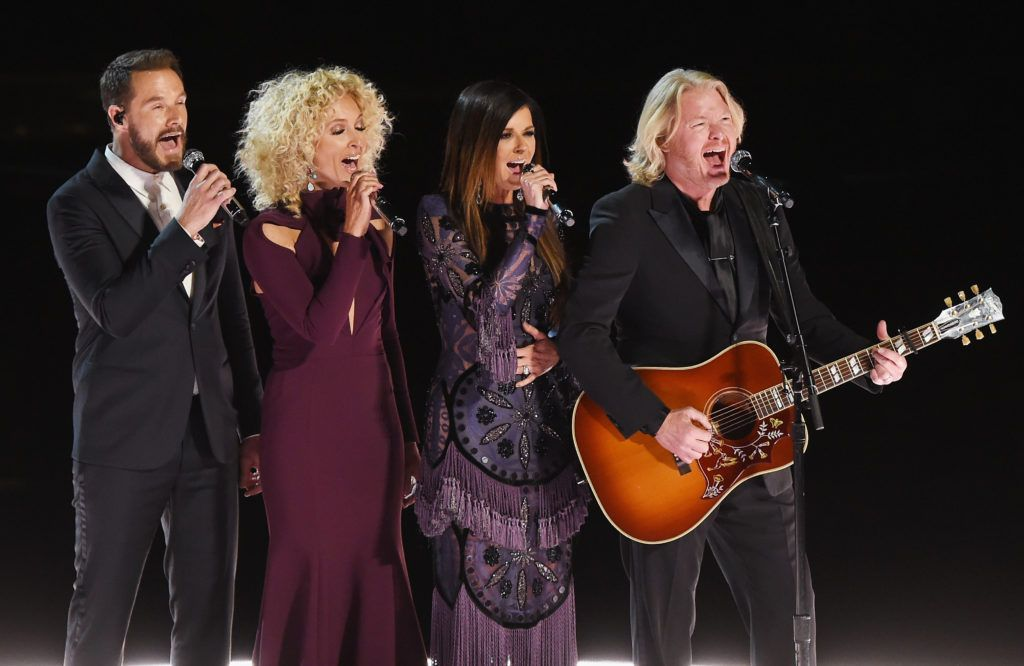 LOS ANGELES, CA - FEBRUARY 12:  (L-R) Recording artists Jimi Westbrook, Kimberly Schlapman, Karen Fairchild, and Philip Sweet of music group Little Big Town speak onstage during The 59th GRAMMY Awards at STAPLES Center on February 12, 2017 in Los Angeles, California.  (Photo by Kevin Winter/Getty Images for NARAS)