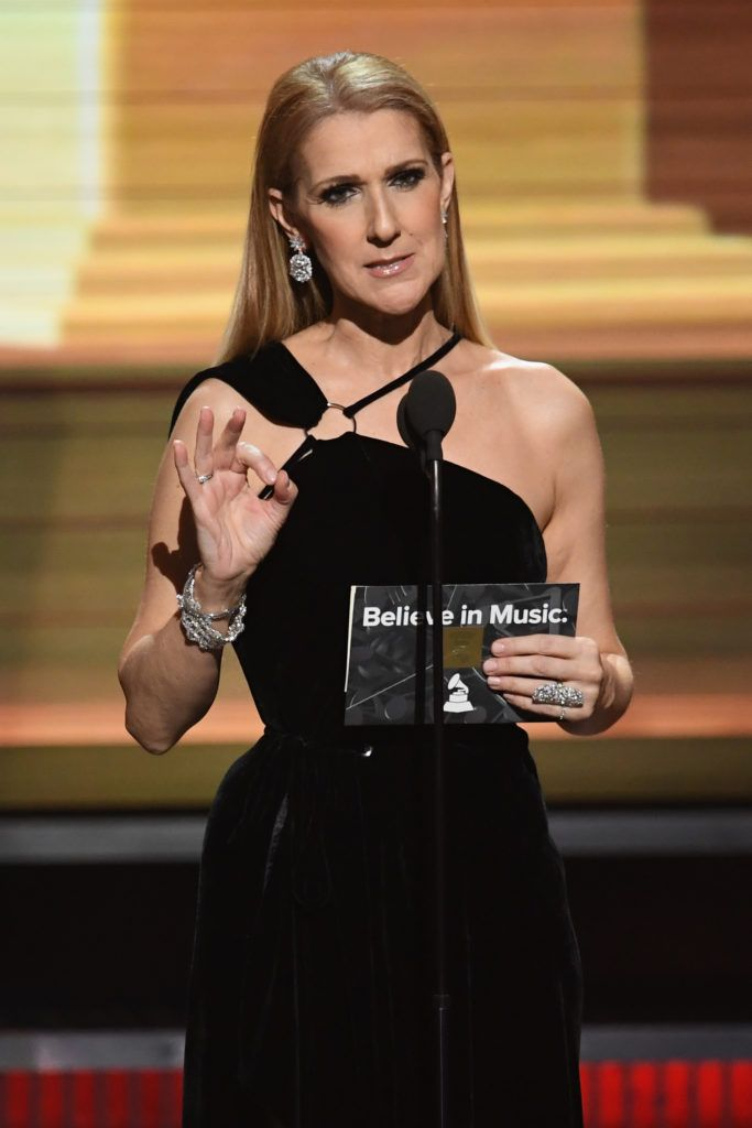 LOS ANGELES, CA - FEBRUARY 12:  Recording artist Celine Dion speaks onstage during The 59th GRAMMY Awards at STAPLES Center on February 12, 2017 in Los Angeles, California.  (Photo by Kevin Winter/Getty Images for NARAS)
