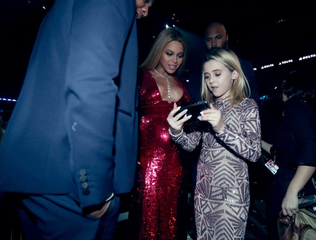LOS ANGELES, CA - FEBRUARY 12: Beyonce and Alabama Barker during The 59th GRAMMY Awards at STAPLES Center on February 12, 2017 in Los Angeles, California.  (Photo by Christopher Polk/Getty Images for NARAS)