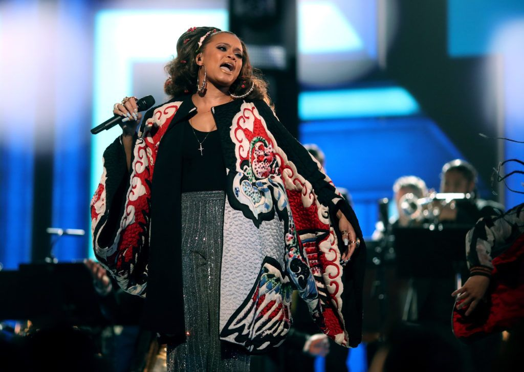 LOS ANGELES, CA - FEBRUARY 12:  Music artist Andra Day onstage during The 59th GRAMMY Awards at STAPLES Center on February 12, 2017 in Los Angeles, California.  (Photo by Christopher Polk/Getty Images for NARAS)