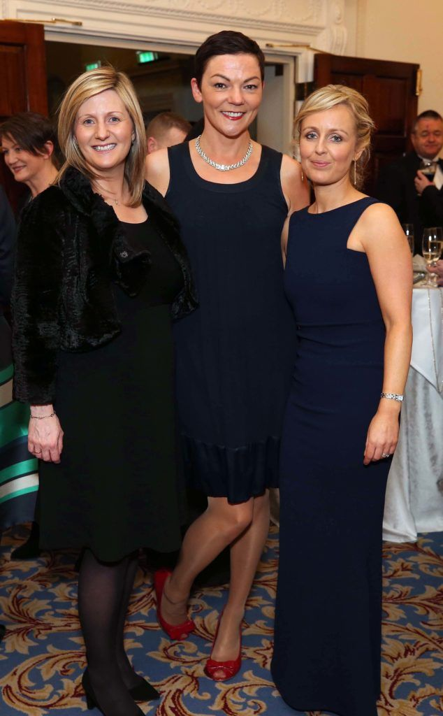 Grainia Long with Aideen Rafferty and Marianne O'Donoghue, pictured at the Nesta sponsored ISPCC Valentines Ball held in the Shelbourne Hotel. Pic. Robbie Reynolds