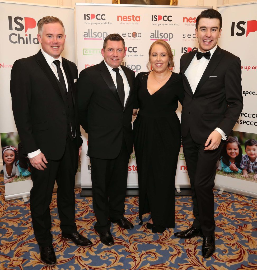 Kevin Lyons (left) with Brian Hefferon, Aoife Long and Al Porter, pictured at the Nesta sponsored ISPCC Valentines Ball held in the Shelbourne Hotel. Pic. Robbie Reynolds