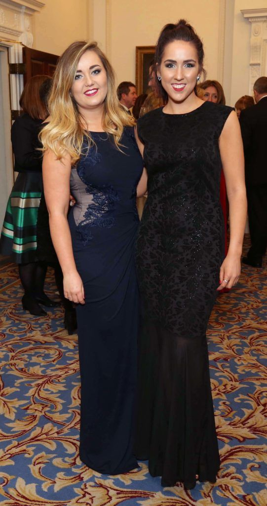 Cleo Hubbard and Sally O'Brien, pictured at the Nesta sponsored ISPCC Valentines Ball held in the Shelbourne Hotel. Pic. Robbie Reynolds