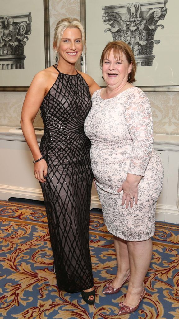Catherine Black and Louise Hughes, pictured at the Nesta sponsored ISPCC Valentines Ball held in the Shelbourne Hotel. Pic. Robbie Reynolds