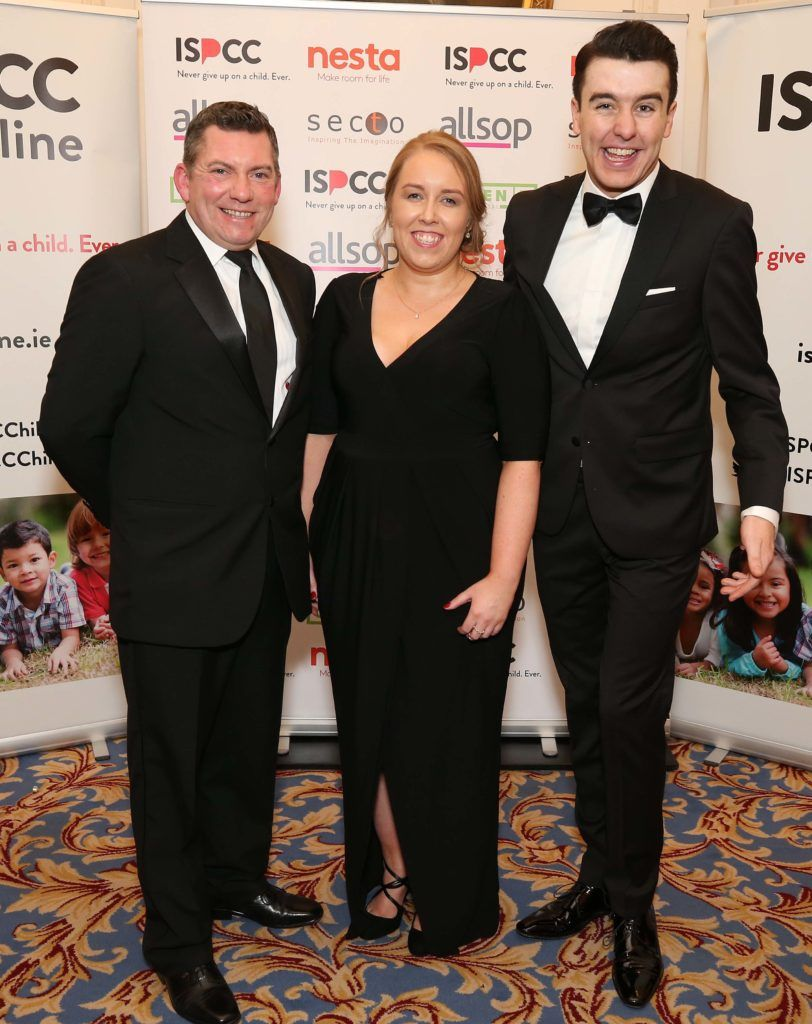 Brian Hefferon (left) with Aoife Long and Al Porter, pictured at the Nesta sponsored ISPCC Valentines Ball held in the Shelbourne Hotel. Pic. Robbie Reynolds