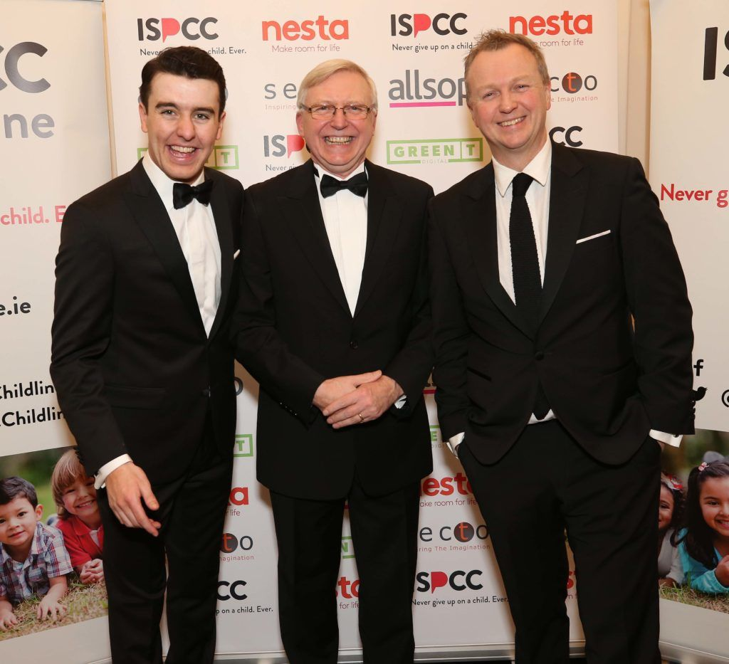 Al Porter with Declan Hughes and Matt Cooper, pictured at the Nesta sponsored ISPCC Valentines Ball held in the Shelbourne Hotel. Pic. Robbie Reynolds