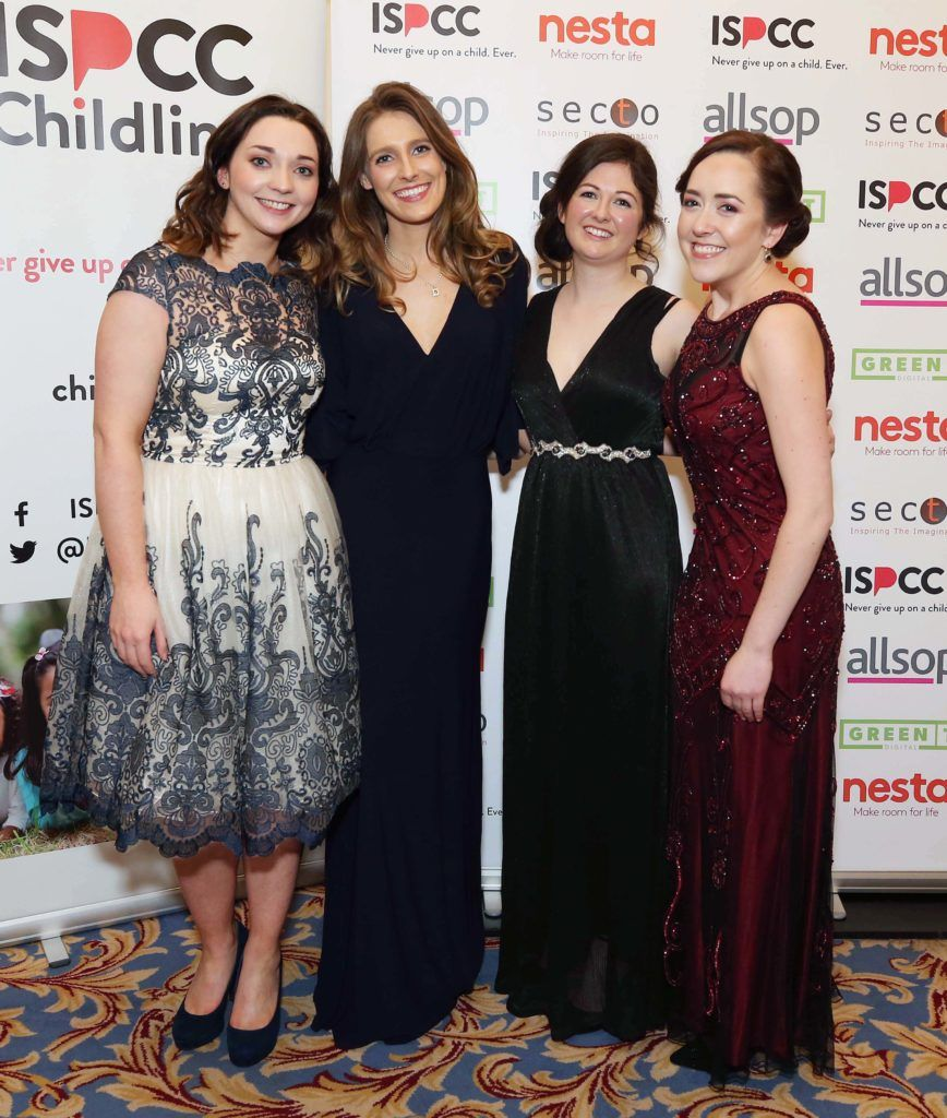 Lucy Bruton (left) with Claire O'Rourke, Sarah Rooney and Katie Smith, pictured at the Nesta sponsored ISPCC Valentines Ball held in the Shelbourne Hotel. Pic. Robbie Reynolds