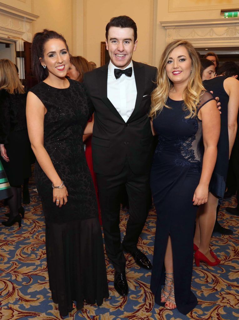 Sally O'Brien with Al Porter and Cleo Hubbard, pictured at the Nesta sponsored ISPCC Valentines Ball held in the Shelbourne Hotel. Pic. Robbie Reynolds