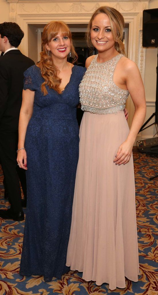 Marie Kenny and Claire Conlon, pictured at the Nesta sponsored ISPCC Valentines Ball held in the Shelbourne Hotel. Pic. Robbie Reynolds