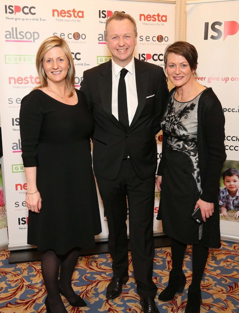 Grainia Long (left) with Matt Cooper and Gill Waters, pictured at the Nesta sponsored ISPCC Valentines Ball held in the Shelbourne Hotel. Pic. Robbie Reynolds