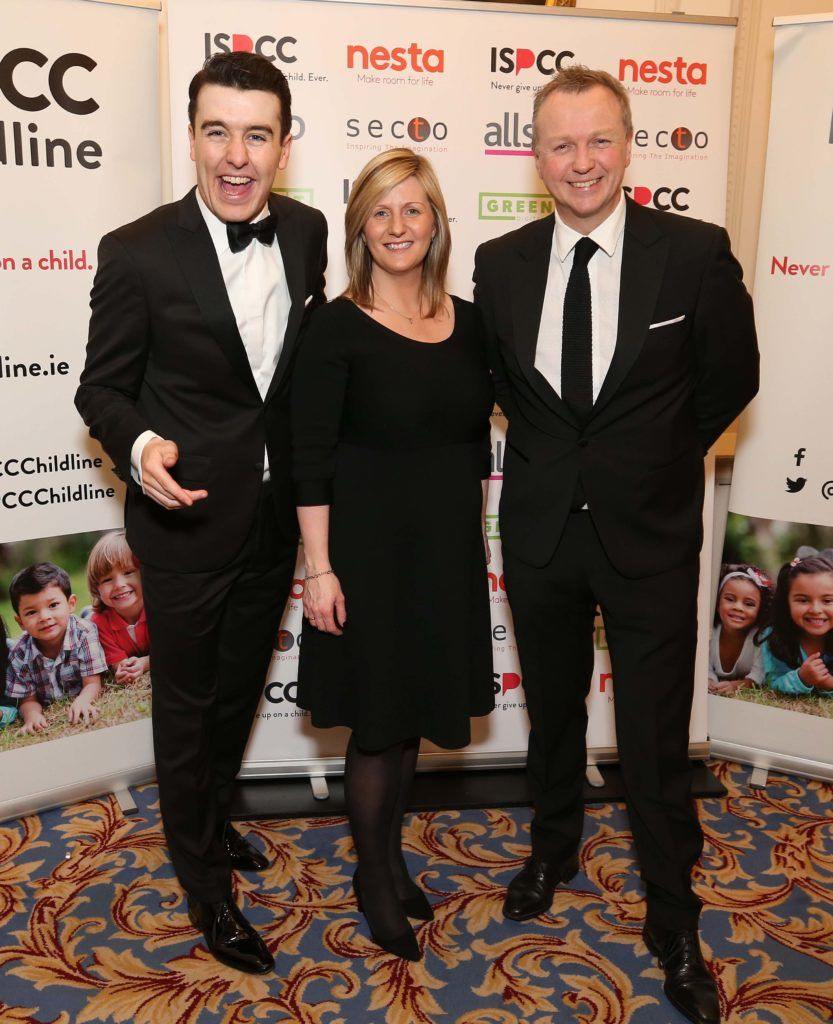 Al Porter with Grainia Long and Matt Cooper, pictured at the Nesta sponsored ISPCC Valentines Ball held in the Shelbourne Hotel. Pic. Robbie Reynolds