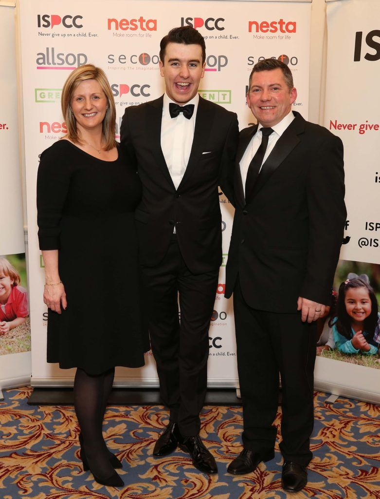 Grainia Long with Al Porter and Brian Hefferon, pictured at the Nesta sponsored ISPCC Valentines Ball held in the Shelbourne Hotel. Pic. Robbie Reynolds