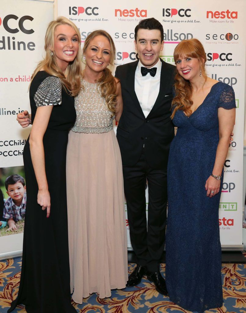 Tina Barrett (left) with Claire Conlon, Al Porter and Marie Kenny, pictured at the Nesta sponsored ISPCC Valentines Ball held in the Shelbourne Hotel. Pic. Robbie Reynolds