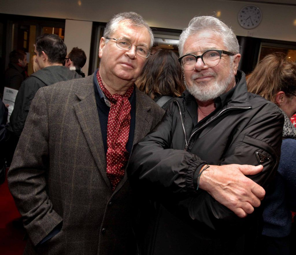 Joe Duffy and John McColgan pictured at the opening night of Arlington, written and directed by Enda Walsh and choreographed by Emma Martin, at the Abbey Theatre. Photo: Mark Stedman