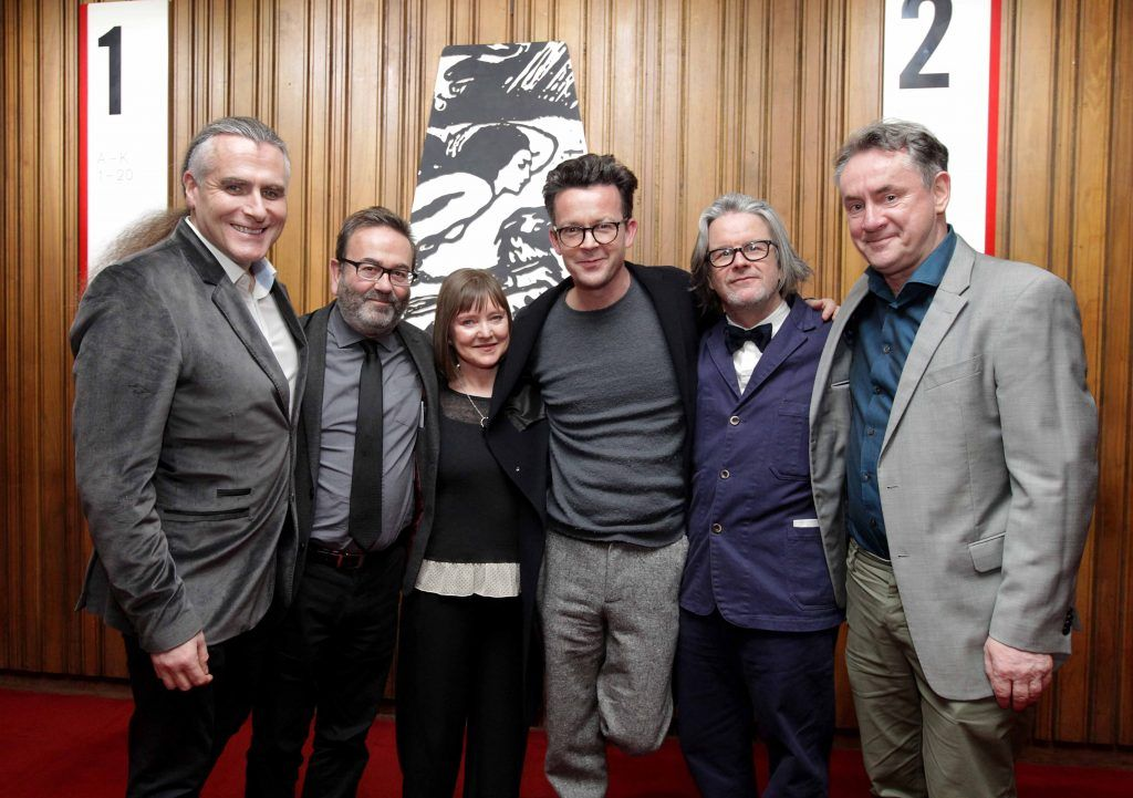 Pictured are, from left, Paul Fahy, Neil Murray, Anne Clarke, Enda Walsh, Graham McLauren and John Crumlish at the opening night of Arlington, written and directed by Enda Walsh and choreographed by Emma Martin, at the Abbey Theatre. Photo: Mark Stedman