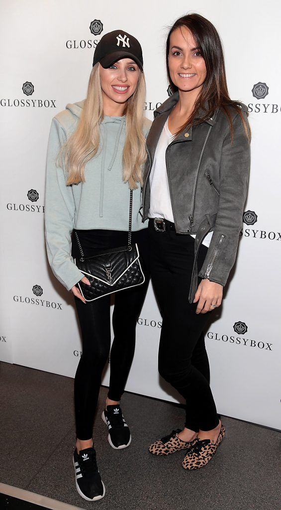 Rosie Connolly and Ciara Kilgallon pictured at the Glossybox Girls Night Out screening at Movie's at Dundrum to celebrate their February LOVE Box. Picture: Brian McEvoy