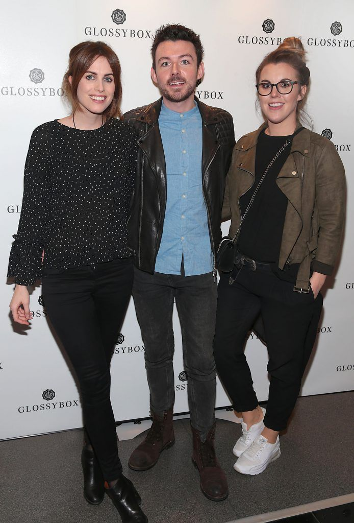 Holly White, Cathal Kenny and Sarah Hanrahan pictured at the Glossybox Girls Night Out screening at Movie's at Dundrum to celebrate their February LOVE Box. Picture: Brian McEvoy