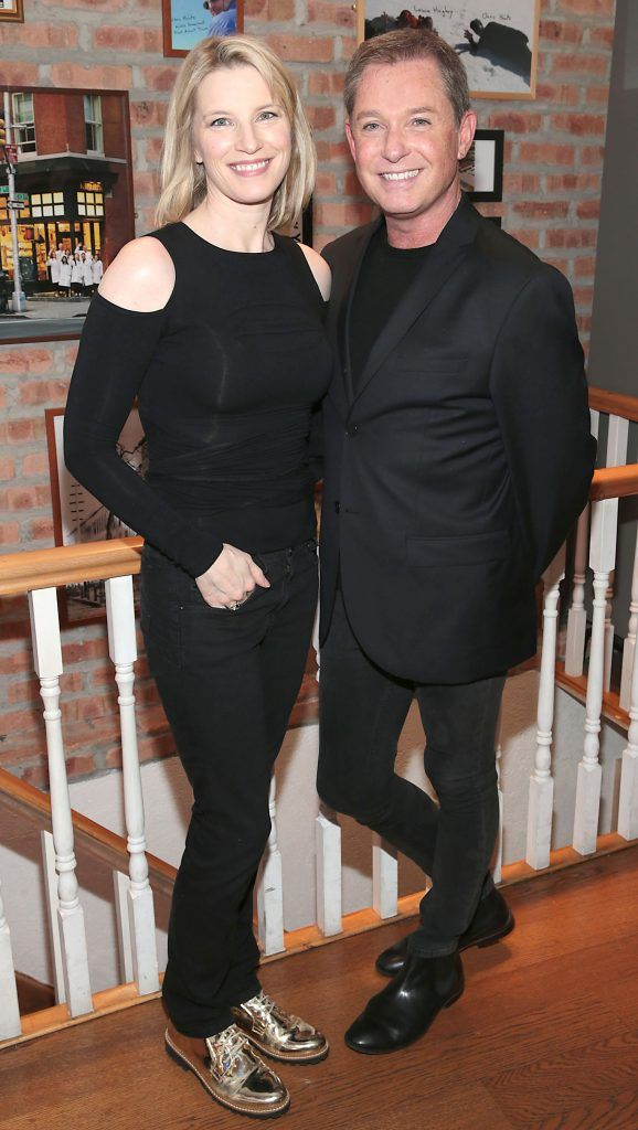 Pamela Flood and Stephen Kelly at the launch of Kiehl's Pure Vitality Skin Renewing Cream at the flagship Kiehl's Store, in Wicklow Street ,Dublin. Picture Brian McEvoy