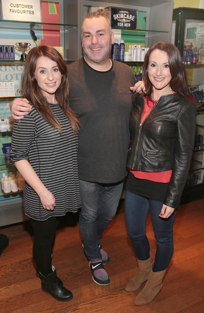 Aisling Powell,Leonard daly and Ailbhe Lynch at the launch of Kiehl's Pure Vitality Skin Renewing Cream at the flagship Kiehl's Store, in Wicklow Street ,Dublin. Picture Brian McEvoy